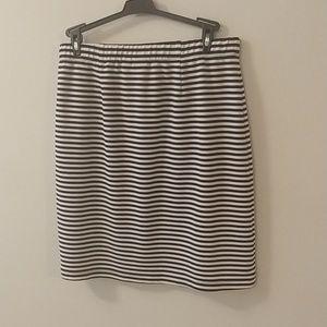 Navy and White Strip Pencil Skirt EUC